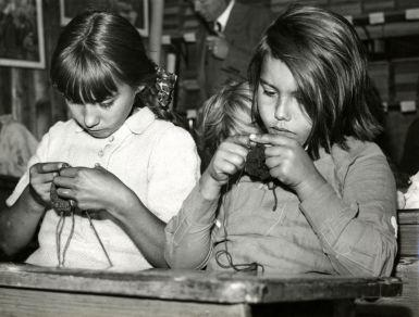 Knitting in primary school of traveller's camp